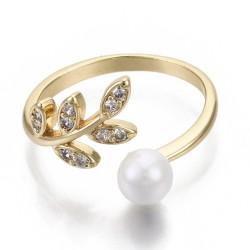 Επίχρυσο Δαχτυλίδι με 18Κ Χρυσό και Ζιρκόν, Φύλλο και Πέρλα, Ρυθμιζόμενο, Χρυσό