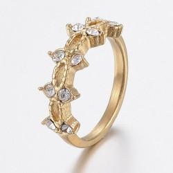 304 Ανοξείδωτο Ατσάλι, Δαχτυλίδι με Διαμαντάκια Ζιρκόν, Χρυσό