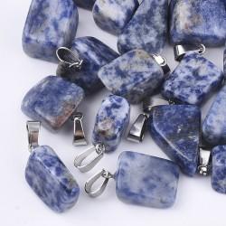 Φυσικός Σοδαλίτης με 304 Ατσάλινα Στοιχεία, Ημιπολύτιμος Λίθος, Κρεμαστό, Μπλε