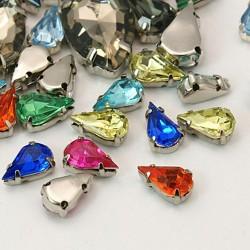 Χαλκός με Ακρυλικό Τεχνητό Διαμάντι, Δάκρυ, Περαστό, Ασημί Βάση, Μικτό Χρώμα