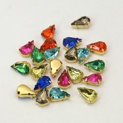 Χαλκός με Ακρυλικό Τεχνητό Διαμάντι, Δάκρυ, Περαστό, Χρυσή Βάση, Μικτό Χρώμα