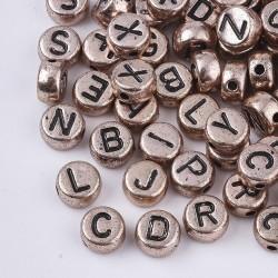 Ακρυλικά Γράμματα, Αγγλική Αλφάβητο, Χάντρα, Στρογγυλα, Μικτά Γράμματα, Ροζ Χρυσό-Μαύρο Γράμματα