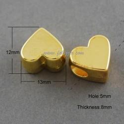 2 τεμ, 13x12x8 χλστ, 5 χλστ τρύπα, Ακρυλικές Χάντρες,  Καρδιά, Χρυσό
