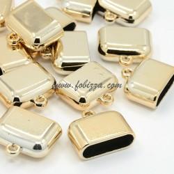 2 τεμ, 25x28x11 χλστ, 25x8 χλστ Τρύπα, Ακρυλικά Καπάκια με Σύνδεσμο, Χρυσό