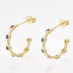 Επίχρυσο, Σκουλαρίκι Κρίκος με Πολύχρωμα Ζιρκόν, Χρυσό