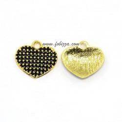 2 τεμ, 13x12x2 χλστ, Μεταλλικό με Σμάλτο, Καρδιά, Κρεμαστό, Χρυσό με Μαύρο Σμάλτο