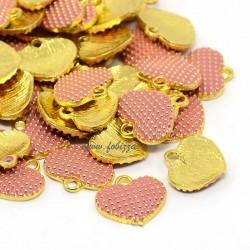 2 τεμ, 13x12x2 χλστ, Μεταλλικό με Σμάλτο, Καρδιά, Κρεμαστό, Χρυσό με Ροζ Σμάλτο