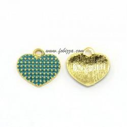 2 τεμ, 13x12x2 χλστ, Μεταλλικό με Σμάλτο, Καρδιά, Κρεμαστό, Χρυσό με Σκούρο Κυανό Σμάλτο
