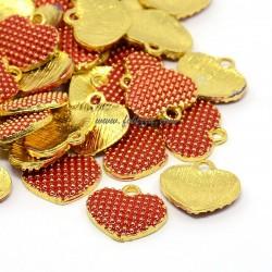2 τεμ, 13x12x2 χλστ, Μεταλλικό με Σμάλτο, Καρδιά, Κρεμαστό, Χρυσό με Κόκκινο Σμάλτο