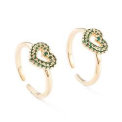 Ρυθμιζόμενο Επίχρυσο Δαχτυλίδι με 18Κ Χρυσό και Ζιρκόν, Καρδιά, Χρυσή Βάση-Πρασινο