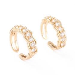 Επίχρυσο Δαχτυλίδι με 18Κ Χρυσό και Ζιρκον, Ρυθμιζόμενο, Χρυσό