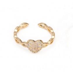 Επίχρυσο Δαχτυλίδι με 18Κ Χρυσό και Ζιρκόν, Καρδιά, Χρυσό