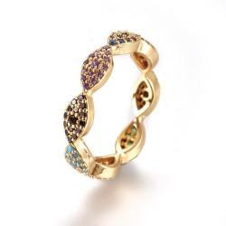 Επίχρυσο Δαχτυλίδι με 18Κ Χρυσό και Ζιρκόν, Μάτια, Πολύχρωμο