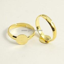 2 τεμ, 17x3 χλστ, 8 χλστ Δίσκος, Δαχτυλίδι από Χαλκό, Ρυθμιζόμενο Εξάρτημα, Χρυσό