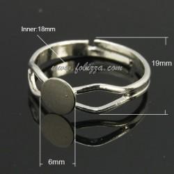 2 τεμ, 18x3 χλστ, 6 χλστ Δίσκος, Δαχτυλίδι από Χαλκό, Ρυθμιζόμενο Εξάρτημα, Πλατίνας