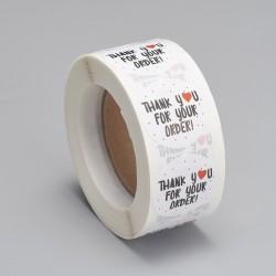 """Χάρτινα Αυτοκόλλητα με Κείμενο """"Thank you for you order"""", Στρογγυλά, Λευκό"""
