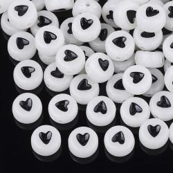 Φωτεινές Ακρυλικές Χάντρες με Καρδιά, Στρογγυλα, Λευκό-Μαύρο