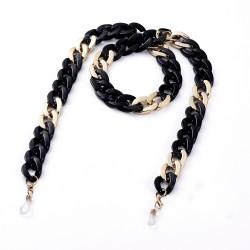 Ακρυλική Αλυσίδα για Γυαλιά με Χρυσα Στοιχεία, Μαύρο