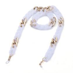Ακρυλική Αλυσίδα για Γυαλιά με Χρυσά Στοιχεία, Λευκό