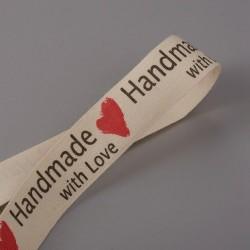 """Βαμβακερί Κορδέλα με κείμενο """"Handmade with Love"""", Μπέζ"""
