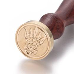 Βουλοκέρι απο Ορείχαλκο με Ξύλινη Λαβή, Σφραγίδα Κεριού με Σχέδιο Ονειροπαγίδα, Χρυσό