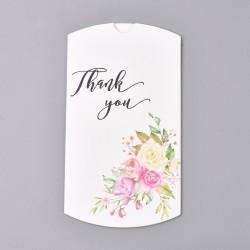 """Κουτί Μαξιλάρι με Σχέδιο Λουλούδια και κείμενο """"Thank you"""", Χάρτινο, Λευκό"""