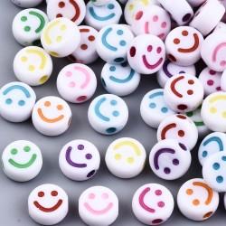 Ακρυλικές Χάντρες με Χαμόγελο, Στρογγυλα, Μικτό Χρωμα