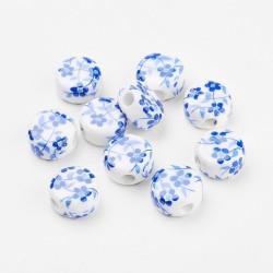 Χειροποίητη Πορσελάνη με Λουλούδια, Χάντρα, Φλατ Στρογγυλό, Λευκό-Μπλε