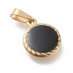 304 Ανοξείδωτο Ατσάλι, Φλάτ Στρογγυλό με Μαύρο Σμάλτο, Κρεμαστό, Χρυσό
