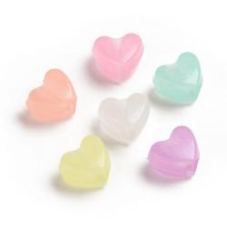 Φωτεινές Ακρυλικές Καρδιές, Χάντρα, Μικτό Χρώμα