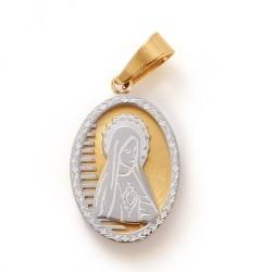 304 Ανοξείδωτο Ατσάλι, Παναγία, Οβαλ Κρεμαστό, Ατσαλιού και Χρυσό