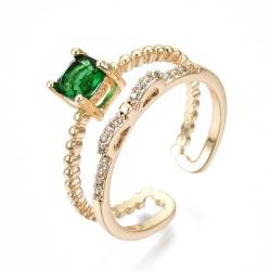 Επίχρυσο με 18Κ Χρυσό, Δαχτυλίδι με Ζιρκόν, Διπλό, Χρυσή Βάση, Πράσινο