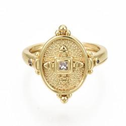 Ρυθμιζόμενο, Επίχρυσο με 18Κ Χρυσό, Δαχτυλίδι με Ζιρκόν
