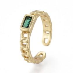 Επίχρυσο με 18Κ Χρυσό, Δαχτυλίδι Αλυσίδα με Ζιρκόν, Χρυσή Βάση, Πράσινο