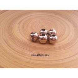 5 τεμ, 12 χλστ διάμετρος, 4 χλστ τρύπα, Μεταλλικές Χάντρα, Στρογγυλό, Πλατίνας