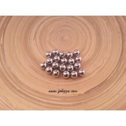 10 τεμ, 10 χλστ διάμετρος, 2 χλστ τρύπα, Μεταλλικές Χάντρα, Στρογγυλό, Πλατίνας