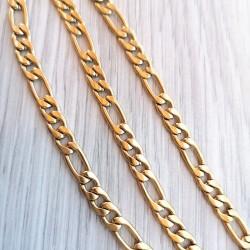 316 Ατσάλι Τιτανίου, Αλυσίδα Λαιμόυ Figaro, Προέκταση 5 χλστ, Χρυσό