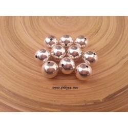 10 τεμ, 12 χλστ διάμετρος, 2 χλστ τρύπα, Μεταλλικές Χάντρα, Στρογγυλό, Ασημί