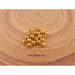 20 τεμ, 5 χλστ διάμετρος, 2 χλστ τρύπα, Μεταλλικές Χάντρα, Στρογγυλό, Χρυσό