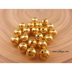 20 τεμ, 10 χλστ διάμετρος, 2 χλστ τρύπα, Μεταλλικές Χάντρα, Στρογγυλό, Χρυσό