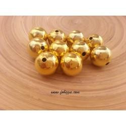 10 τεμ, 12 χλστ διάμετρος, 2 χλστ τρύπα, Μεταλλικές Χάντρα, Στρογγυλό, Χρυσό