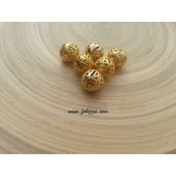 6 τεμ, 10 χλστ διάμετρος, 1 χλστ τρύπα, Μεταλλικές Χάντρα με Κέντημα, Στρογγυλό, Χρυσό