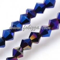 100 pcs. Electroplate Glass Beads Strands, Full Plated, Faceted, Bicone, Blue, 3x3mm, Hole: 1mm
