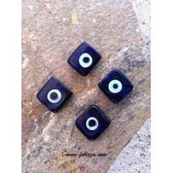 2 τεμ, 20 χλστ, Τρύπα: 2 χλστ, Χειροποίητο Γυάλινες Χάντρες, στυλ Κακο Μάτι, Τετράγωνο, Μπλε