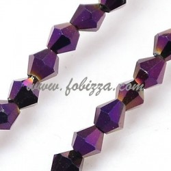 100 pcs, Electroplate Glass Beads Strands, Full Plated, Faceted, Bicone, Purple, 3x3mm, Hole: 1mm
