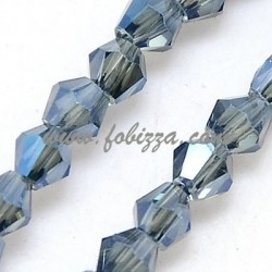 100 pcs. Electroplate Glass Beads Strands, Full Plated, Faceted, Bicone, MarineBlue, 3x3mm, Hole: 1mm