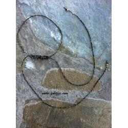 1 τεμ, 35 εκ. μήκος, 1 χλστ πάχος, Μακραμέ για Λαίμο, με Κρίκο, Μαύρο με Χρυσό