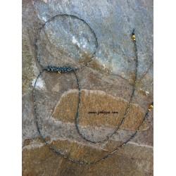 1 τεμ, 35 εκ. μήκος, 1 χλστ πάχος, Μακραμέ για Λαίμο, με Κρίκο, Μπλε με Χρυσό