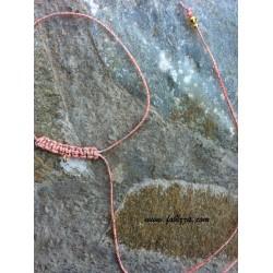 1 τεμ, 35 εκ. μήκος, 1 χλστ πάχος, Μακραμέ για Λαίμο, με Κρίκο, Ροζ Ανοιχτό με Χρυσό