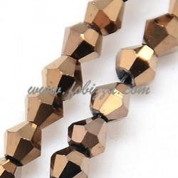 100 pcs. Electroplate Glass Beads Strands, Full Plated, Faceted, Bicone, DarkGolde, 3x3mm, Hole: 1mm